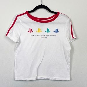 PlayStation Vintage Cropped Tee Sz Large 1994